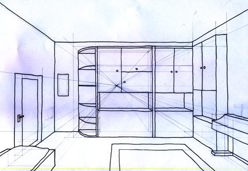 zimmer zeichnen mit fluchtpunkt die sch nsten. Black Bedroom Furniture Sets. Home Design Ideas